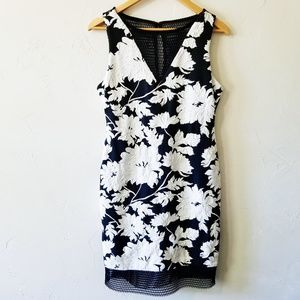 Cache White Floral Sheath Dress w/ Black Mesh